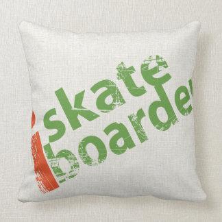 I SkateBoarder Grunge Text Throw Pillow