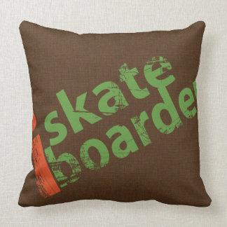 i SkateBoarder Vintage Brown Throw Pillow
