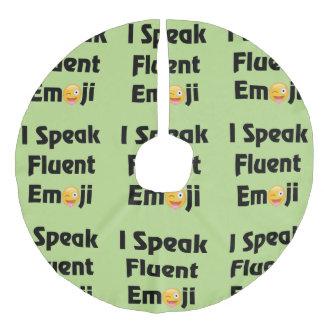 I Speak Emoji Tree Skirt Faux Linen Tree Skirt