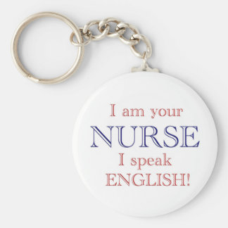 I speak English Basic Round Button Keychain