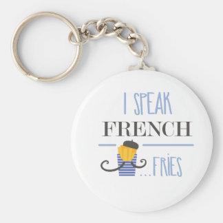 I Speak French... Fries Basic Round Button Keychain
