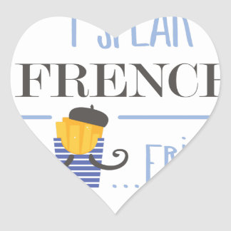I Speak French... Fries Heart Sticker