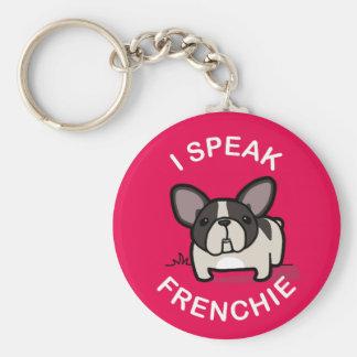 I Speak Frenchie - Pink Basic Round Button Keychain