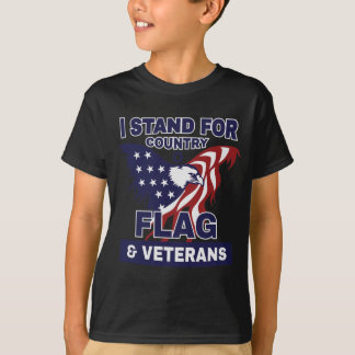 I Stand For Country Flag & Veterans T-Shirt