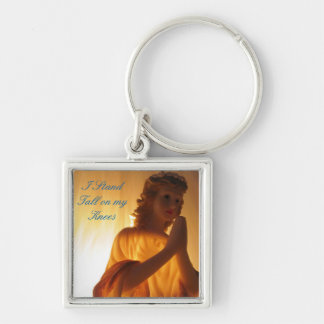 I Stand Tall on my Knees Angel Silver-Colored Square Keychain