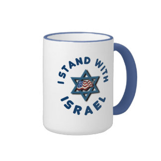 I Stand With Israel American Flag Star of David Ringer Coffee Mug