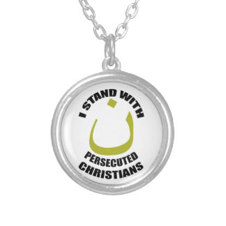 I Stand With Persecuted Christians Arabic Nun Silver Plated Necklace