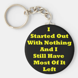 I Started Out With Nothing Sarcastic Basic Round Button Keychain