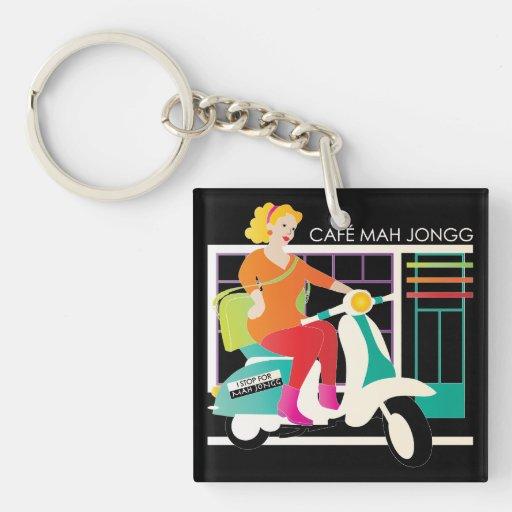 I Stop for Mah Jongg Retro Scooter/Sign Acrylic Key Chain