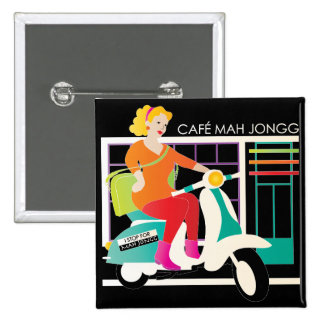 I Stop for Mah Jongg Scooter Pinback Buttons