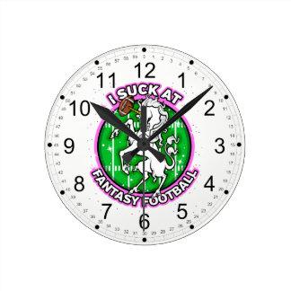 I Suck At Fantasy Football Unicorn Round Clock