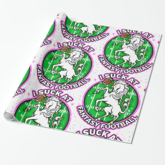 I Suck At Fantasy Football Unicorn Wrapping Paper