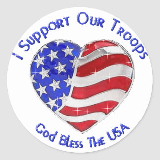 I Suport our troops Classic Round Sticker