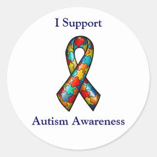 I Support Autism Awareness Round Sticker