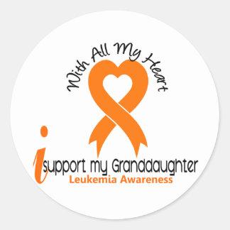 I Support My Granddaughter Leukemia Round Sticker