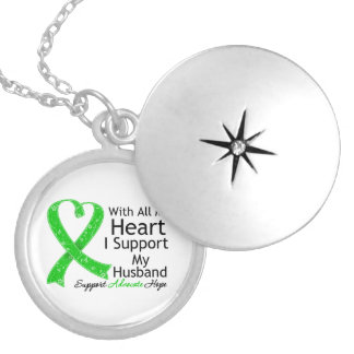 I Support My Husband With All My Heart Round Locket Necklace