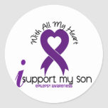 I Support My Son Epilepsy Round Sticker