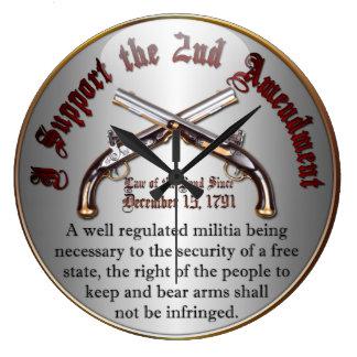 I Support the 2nd Amendment Large Clock