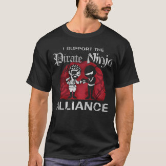I support the pirate ninja alliance black  t-shirt