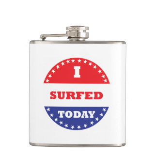 I Surfed Today Hip Flask