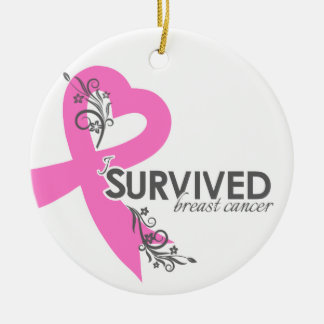 I Surived Breast Cancer Round Ceramic Ornament