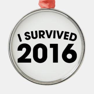 I Survived 2016 Silver-Colored Round Ornament
