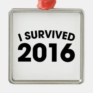 I Survived 2016 Silver-Colored Square Ornament