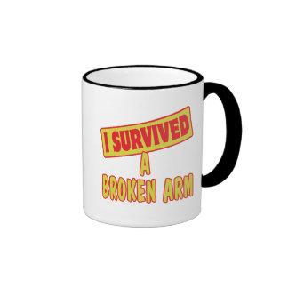 I SURVIVED A BROKEN ARM RINGER COFFEE MUG