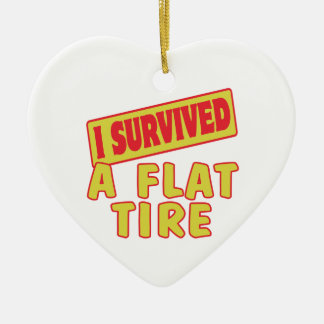 I SURVIVED A FLAT TIRE CERAMIC ORNAMENT