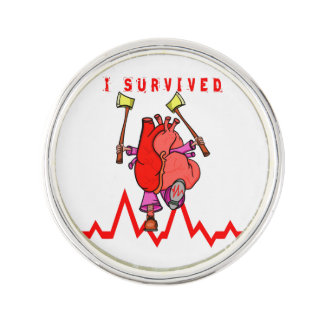 I survived a heart attack lapel pin