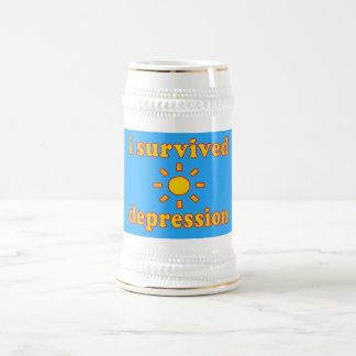 I Survived Depression Mental Health Happiness Beer Stein