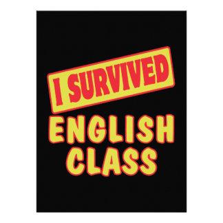 I SURVIVED ENGLISH CLASS PERSONALIZED INVITATION