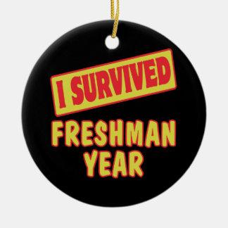 I SURVIVED FRESHMAN YEAR ROUND CERAMIC ORNAMENT
