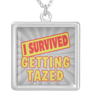 I SURVIVED GETTING TAZED SQUARE PENDANT NECKLACE