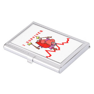 I survived heart trauma business card holder