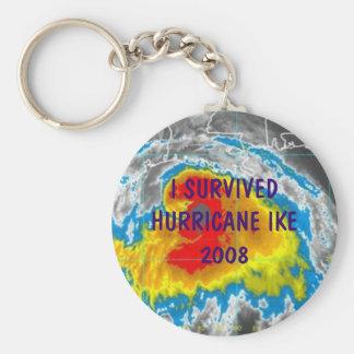 I SURVIVED HURRICANE IKE 2008 BASIC ROUND BUTTON KEYCHAIN