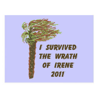 I Survived Hurricane Irene - Blue Postcard