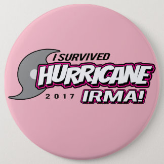 I Survived Hurricane Irma Pink Button