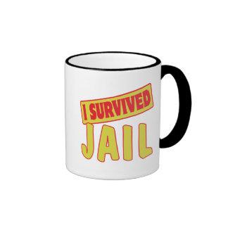I SURVIVED JAIL RINGER COFFEE MUG