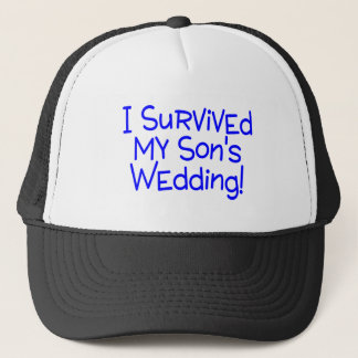 I Survived My Sons Wedding Blue Trucker Hat