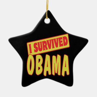I SURVIVED OBAMA CERAMIC STAR ORNAMENT