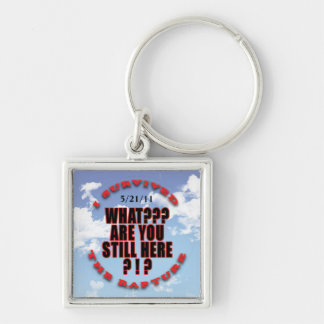 """I survived...rapture"" Silver-Colored Square Keychain"