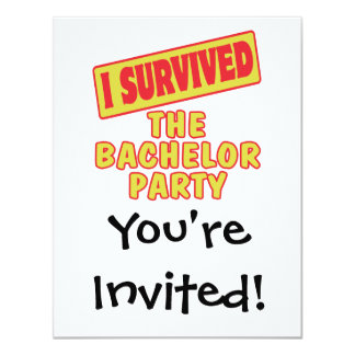 "I SURVIVED THE BACHELOR PARTY 4.25"" X 5.5"" INVITATION CARD"