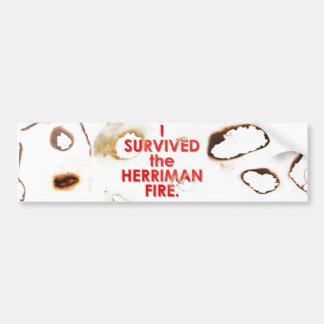 """I SURVIVED the HERRIMAN FIRE"" bumper sticker"