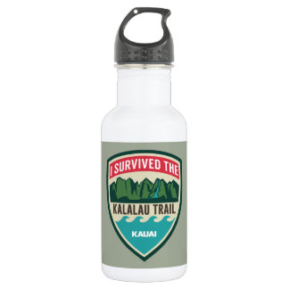 """I Survived the Kalalau Trail"" Water Bottle"