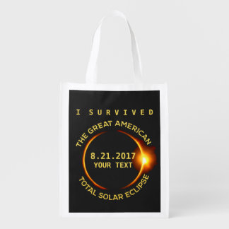 I Survived the Total Solar Eclipse 8.21.2017 USA Reusable Grocery Bag
