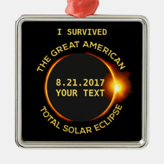 I Survived Total Solar Eclipse 8.21.2017 USA Silver-Colored Square Ornament