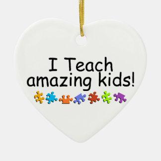 I Teach Amazing Kids Ceramic Heart Ornament