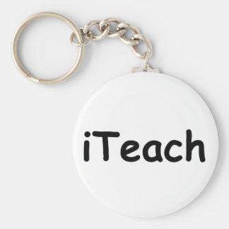 i Teach Basic Round Button Keychain