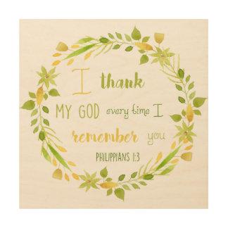 I thank my God Philippians Christian Bible wood Wood Wall Art